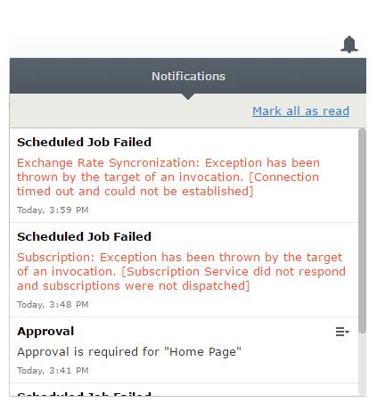 Notification in the Episerver UI
